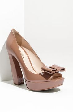 Prada Peep Toe Bow Sculpted Heel Pump  If you are going this high it has got to be think!  PRADA Love you!