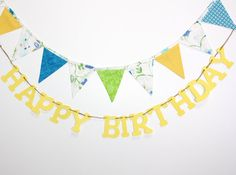 Birthday Bunting Banner blue green yellow fabric by FrogBlossoms