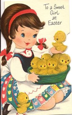 Alenquerensis: Cute Vintage Cards for Your Easter easter images Easter Greeting Cards, Vintage Greeting Cards, Vintage Postcards, Vintage Images, Vintage Valentines, Vintage Holiday, Fete Pascal, Vintage Sweets, Easter Garland