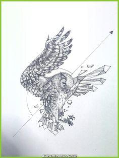 : Try everyday Geometric Drawing, Geometric Art, Owl Tattoo Design, Tattoo Designs, Aquarell Tattoos, Tattoo Zeichnungen, Gcse Art, Owl Art, Art Plastique
