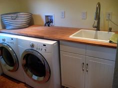 Diy laundry room sink cabinet laundry sink ideas modern utility sink laundry ideas room tub sinks mop photo details from laundry sink ideas Small Laundry Sink, Laundry Room Sink Cabinet, Laundry Room Utility Sink, Small Utility Room, Laundry Room Countertop, Laundry Room Design, Laundry Nook, Laundry Decor, Yellow Laundry Rooms