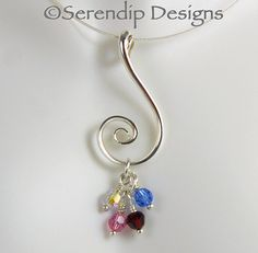 Silver Spiral Mothers's Pendant with Four by SerendipDesignsJewel, $38.00