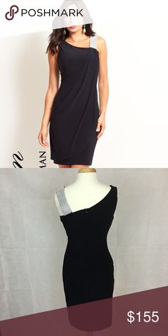 Frank Lyman dress Black/navy dress. Asymmetrical neckline with wide shoulder straps. Stunning and fits beautifully. Fully lined and approx. 38 inches long. Dresses Midi