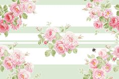 """MAY DAY Summer Roses Wreath"" basil stripe,  by LilyOake on Spoonflower - custom fabric, wallpaper and gift wrap, all print on demand!"