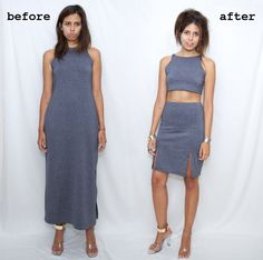 transform your old maxi dress into a summer 2 piece