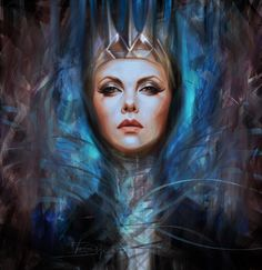 Digital painting portrait of Charlize Theron as the Queen from Snow White and the Huntsman, created by Olga Tereshenko