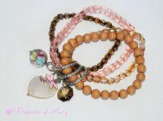 bracciale elastico a tre fili con charms