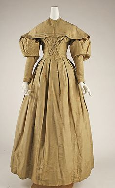 Visiting Ensemble 1830 The Metropolitan Museum of Art Old Dresses, Vintage Dresses, Vintage Outfits, Historical Costume, Historical Clothing, Victorian Fashion, Vintage Fashion, Leg Of Mutton Sleeve, 19th Century Fashion
