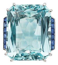 Estate Jewelry:Rings, Aquamarine, Sapphire, Diamond, Platinum Ring. ...
