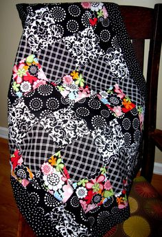 Patchwork Black and Bright Baby Quilt by zobabyblankies on Etsy, $44.95