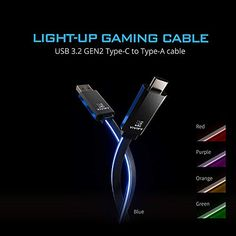 Gaming Light Type C C-A USB 3.2 Cable – Gameller   Gaming Gear Up Game, Red Purple, Light Up, Cable, Gaming, Usb, Type, Cabo, Videogames