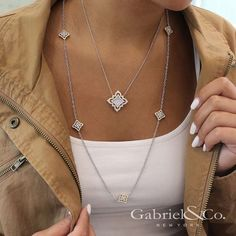 Gabriel & Co. - Bring major glamour to your wardrobe by pairing these yellow and white gold Mediterranean-inspired diamond necklaces. Diamond Pendant Necklace, Diamond Jewelry, Diamond Necklaces, Diamond Choker, Choker Necklaces, Diamond Rings, Gold Necklace, Silver Jewellery Indian, Silver Jewelry