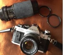 Canon AE1 Program Camera made in Japan, original owner, 50mm, 80-200mm lens, lens case, Electronic flash, filters, camera bag, great cond by Sunshineoftreasures on Etsy