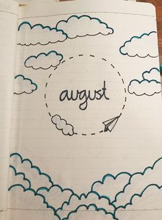 August☁️ #augustbulletjournal August☁️ Bullet Journal August, Bullet Journal Spread, Bullet Journal Ideas Pages, Bullet Journal Inspiration, Journal Layout, Illustrations, Journaling, School, Drawings