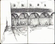 Courtyard at San Marco monastery in Florence, Italy Sketchbook, Artist Study Chelsea Ward Fine Art Architectural Painting, Resources for Art Students, CAPI ::: Create Art Portfolio Ideas at milliande.com , Inspiration for Art School Portfolio Work, How to Paint Buildings and Architecture, house, building,structure, drawing,sketching, exterior, interior, design