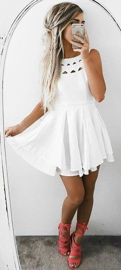 #summer #ultimate #outfits | White Dress + Pop Of Color