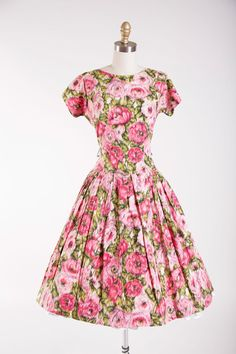 1950s Vintage Dress Roses at Dawn Pink Floral by stutterinmama