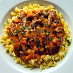 Portobello Paprikash with Spaetzle- so hearty that even the biggest meat lovers out there will enjoy this vegetarian dish!