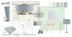 """Bedroom moodboard showing """"Primrose"""" furniture from House of Fraser  A soft romantic French style bedroom"""