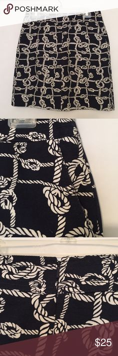 """✳️NEW LISTING✳️ Talbots black skirt Beautiful Talbots skirt, black with white rope design. Great for summer! Two slant pockets in front, invisible zipper in back. Fully lined. Heavier weight cotton. Length 18"""". Beautifully constructed inside and out. Great condition. Talbots Skirts Mini"""