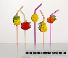 Canudo decorativo de frutas Strawplast