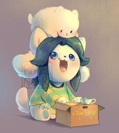 --- I can never figure out what those two fluff things are behind Temmie's head  hOI are you tem's custemer? will u help tem pay for colege???  //steals everything