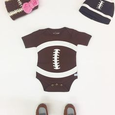 Get your little one ready for football season too! 🏈  #SweetnSwag moccasins - $20 Knit cap (left) - $17 Beanie (right) - $14 #RuggedButts onesie - $22 - - - #mbfctracy #downtowntracy #shop209 #shoplocal #cute #fashion #love #babyfashion #baby #football #footballseason #ootd