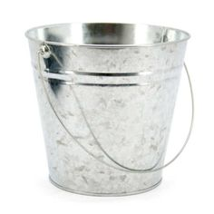 Extra Large Zinc Bucket 23tdx16bdx20cmH - Silver (99NZTIN1) | Oceans Floral -Tinware is very versatile, whether you want troughs for hampers or corporate gifts, or buckets and tall tins for flowers; our v-shape tins with ear handles are great for displaying flowers plus our plastic pots and vases pop inside nicely for a water tight option. Our smaller tins work great for gifts, posies, wedding favours, children's parties and baby showers.