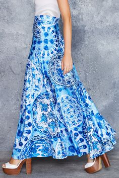 Blue China Maxi Skirt - CAPPED PRESALE ($120AUD) by BlackMilk Clothing