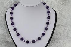 Ketten kurz - Kette violett flieder weiß Schmuck silber  - ein Designerstück von trixies-zauberhafte-Welten bei DaWanda