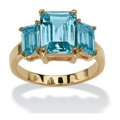 PalmBeach Jewelry Emerald-Cut Triple Birthstone Ring 18k Gold-Plated,... ($24) ❤ liked on Polyvore featuring jewelry, rings, jewelry & watches, topaz jewelry, trio rings, topaz ring, birthstone jewelry and 18k gold plated jewelry