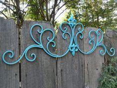Aqua Wall Decor / Wrought Iron /Fleur De Lis Wall Decor / Indoor Outdoor Wrought Iron / Shabby Chic Decor via Etsy