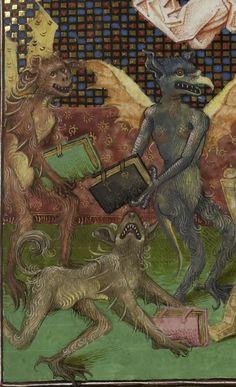 Strasbourg, Bibliothèque nationale et universitaire, 0523 detail of f. 230. St Augustine, De civitate dei in the French translation of Raoul de Presles. 14th century.
