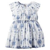 With a fresh porcelain print, cinched waist and flutter sleeves, this pretty dress makes summer style a breeze.<br>