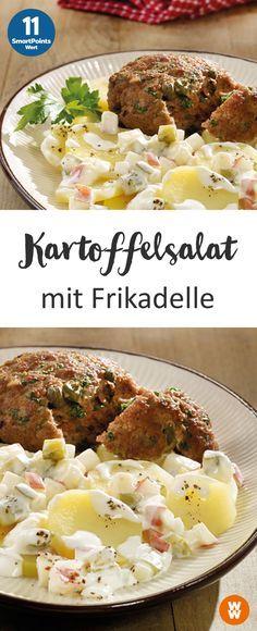 Kartoffelsalat mit Frikadellen | 4 Portionen, 11 SmartPoints/Portion, Weight Watchers, fertig in 50 min.