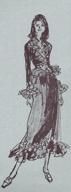 THE FIRST LADY Couture 1977, Jacqueline Onassis in ruffled black organza midi. Sketch by Kenneth Paul Bloch for WWD (from VALENTINO - Ed. Franco Maria Ricci)