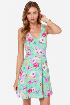 Grand Poppy Mint Floral Print Dress at LuLus.com!