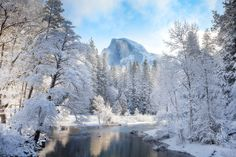 This stunning photo of Half Dome, in #Yosemite National Park, shrouded in snow is this week's Picture of the Week