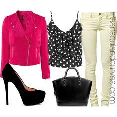 Polka dot sheer top, white jeans, hot pink biker jacket