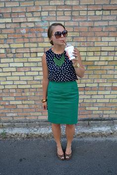 pattern shirt and pencil skirt LOVE