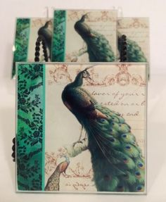 Set Of 4 Green Peacock Feathers Chic Home Decor French Matching Glass Coasters
