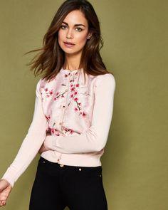 Peach Blossom jacquard cardigan - Light Pink | Knitwear | Ted Baker UK