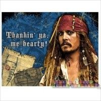 Pirates of the Caribbean Thank You Notes  http://hardtofindpartysupplies.com/Pirates-of-the-Caribbean-childrens-birthday-party-supplies/Pirates-of-Caribbean-Stranger-Tides-Thank-You-Notes-Envelopes