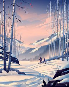 REI and the OCS teamed up for one of the most natural pairings imaginable to create a series of illustrations which capture the beauty of the great outdoors. Illustration Landscape, Illustration Art Dessin, Winter Illustration, Digital Illustration, Landscape Concept, Fantasy Landscape, Winter Landscape, Landscape Art, Fantasy Art