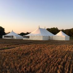 A wedding for 150. This couple got married in the Traditional marquee on the left, had their meal and celebrations in the large vintage style marquee in the middle and had all of the catering and preparations in the canvas pole marquee on the right.