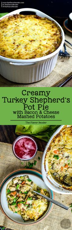 This Creamy Turkey Shepherd's Pot Pie topped with cheese, bacon and creamy mashed potato, and then baked until the potatoes turn a light golden brown, will have you counting down the days for the day after thanksgiving!
