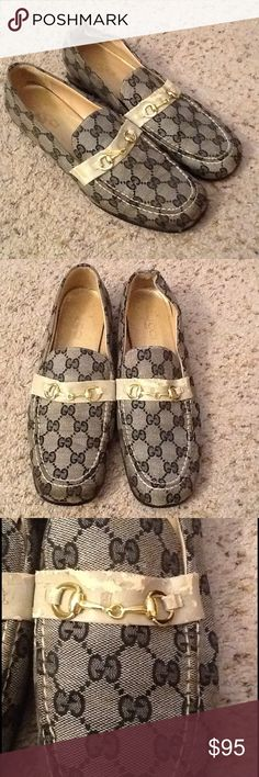 GUCCI MONOGRAM HORSEBIT SHOES LOAFERS sz 12 GUCCI womens sz 12, Monogram logo HORSEBIT shoes loafers.  Black GG with GOLD horsebit.  Nice condition, some chafing on the leather strap, shown.  Really cool shoes!    Will ship right away.  Check out my other designer items Gucci Shoes Flats & Loafers