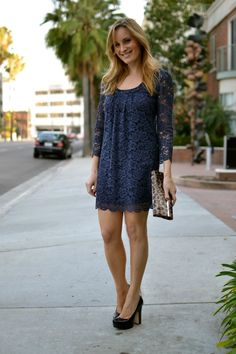 Navy blue lace dress with a touch of leopard