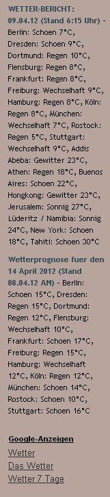 WETTER-BERICHT: 09.04.12 (Stand 6:15 Uhr) - http://www.schoeneswetter.com/wetterwuensche/wetter-2012/april-2012/wetter-9-april-2012.php