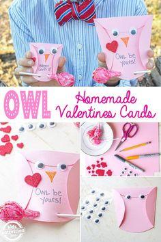 owl homemade valentines cards - Valentine's Day for Kids - Valentinstag My Funny Valentine, Homemade Valentines Day Cards, Valentines Day Party, Valentines Day Decorations, Valentine Activities, Valentine Crafts For Kids, Crafts For Kids To Make, Valentine Ideas, Valentine Recipes